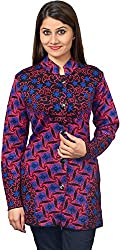 KTC Women's Wool Regular Fit Cardigan (751-V45, Pink/Royal, 39)