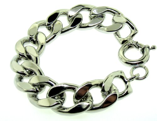 XL Curb Bracelet &#8211; Silver Plated &#8211; Men?TMs &#8211; 20MM WIDE, 9 inch, Giant, Solid Bling