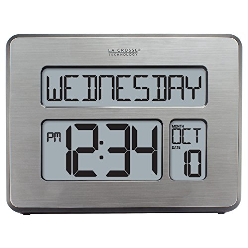 La Crosse Technology C86279 Atomic Full Calendar Clock with Extra Large Digits - Perfect Gift for The Elderly (Digital Clock With Date compare prices)