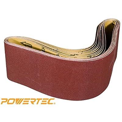 POWERTEC 110110 4-Inch x 36-Inch 120 Grit Aluminum Oxide Sanding Belt, 10-Pack from POWERTEC