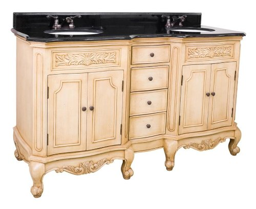 Elements VAN061D-60 Clairemont Collection 60-7/8 Inch Dual Sink Bathroom Vanity, Buttercream