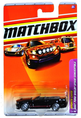 Mattel Year 2009 Matchbox MBX Sports Cars Series 1:64 Scale Die Cast Car #7 - Black High Performance Car Year 2007 Convertible Ford Shelby GT500 (R4958) - 1