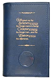 Alcoholics Anonymous AA Soft Paperback Big Book Cover Serenity Prayer & Medallion Holder Blue