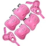 Nsstar 6pcs Kid Children Roller Bicycle Bike Skateboard Extreme Sports Bogu Protector Guards Pads Sport Protective Gear Safety Pad Safeguard Knee Elbow Wrist Support Pad Set Equipment (Pink)