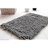 Fantastic Job Soft Shaggy Non Slip Absorbent Bath Mat Bathroom Shower Rugs Carpet (Grey)