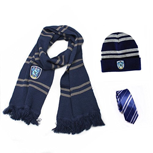 Harry Potter Gryffindor-Hufflepuff-Ravenclaw-Slytherin House Scarf + Tie + Hat/Cap Costumes Accessories Cosplay (Blue-Ravenclaw) (Cosplay House compare prices)