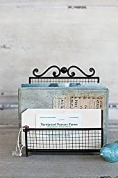 Metal Bill Organizer Mail Holder Wire Design Brown Finish Country Home D