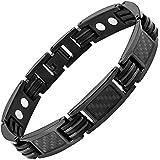 Nouveauté Bracelet Aimanté homme en titane noir et Incrustations de fibre carbone noire, Ustensile ajusteur inclus