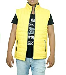 Pragati Traders Men's Polyester Jacket (S-8_S_Yellow_Small)