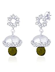 The Art Jewellery Delicate Gold With Green Stone Hoop Earrings For Women
