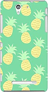 xperia c3 back case cover ,Floating Teal Pineapples Designer xperia c3 hard back case cover. Slim light weight polycarbonate case with [ 3 Years WARRANTY ] Protects from scratch and Bumps & Drops.