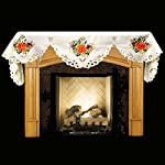 """19"""" X 90"""" Wide Fireplace Mantel Scarf with Fall Pumpkins, Grapes from Linens, Art and Things"""