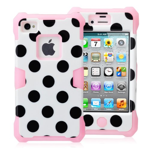 Magicsky Plastic + Silicone Hybrid White Polka Dot Pattern Active Glow Case For Apple Iphone 4 4S 4G - 1 Pack - Retail Packaging - Baby Pink/White