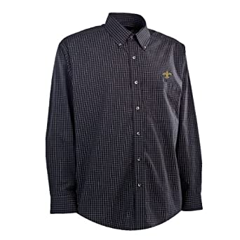 NFL Mens New Orleans Saints Esteem Woven Dress Shirt by Antigua