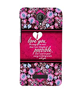 Beautiful Love Message 3D Hard Polycarbonate Designer Back Case Cover for Micromax Canvas Spark Q380