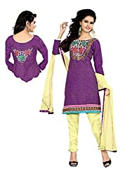 Idha Purple Semi-Stitched Embroidered Salwar Suit For Women