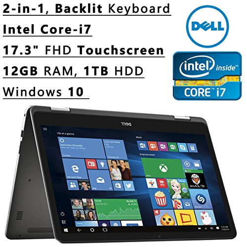 "2016 Dell Inspiron 2-in-1 17.3"" FHD Touchscreen Backlit Keyboard Flagship High Performance Laptop PC 