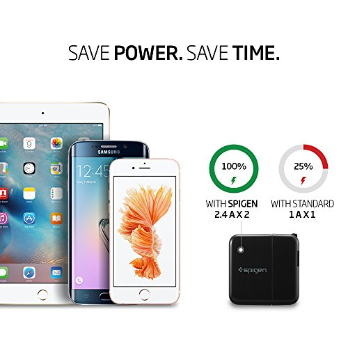 Spigen-F202-USB-Wall-Charger-2-Port-48-Amp-USB-Travel-Charger-with-Folding-Plug-USB-Charger-for-iPhone-7-7-Plus-6S-6-SE-Galaxy-S7-S7-Edge-S6-iPad-Air-2-Mini-3-Note-5-LG-More