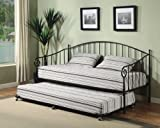 Matt Black Metal Twin Size Day Bed (Daybed) Frame With Metal Slats