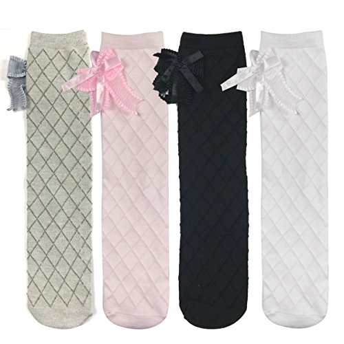 Bowbear Little Girls 4-Pair Knee High Socks with Bow 14.5 x 3.5 in Multicolor