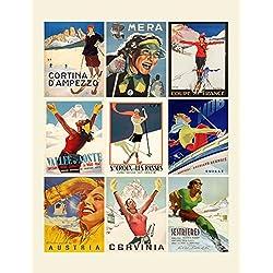 """Large Stickers (each sticker 2.5""""x3.5"""", 9 stickers on sheet) European Ski Resort Travel Poster Girls FLONZ Craft Vintage Art Deco Ephemera"""