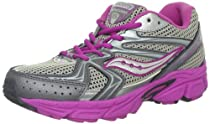 Saucony Girls Cohesion 6 Lace Running Shoe (Big Kid),Grey/Magenta/Silver,6.5 W US Big Kid