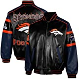 NFL Denver Broncos Men's Post Game Pleather Jacket, Navy, X-Large at Amazon.com