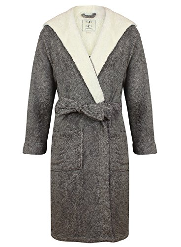 Mens-Hooded-Fleece-Robe-by-John-Christian-Dark-Gray-Marl
