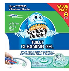 Scrubbing Bubbles Toilet Gel Rain Shower, 1 Dispenser and 12 Gel Stamps
