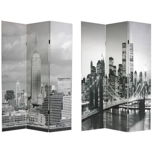 Oriental Furniture New York City Photograph Print Gift Idea, 6-Feet Brooklyn Bridge And Empire State Bldg. Photo Print Folding Room Divider