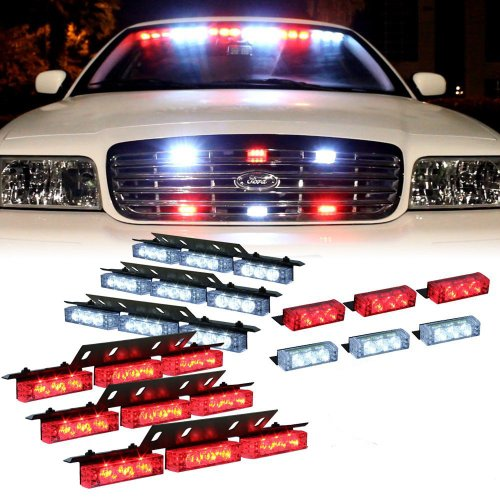 Nilight® 72 X Ultra Bright Led Emergency Warning Use Flashing Strobe Lights Bar For Windshield Dash Grille-Red White