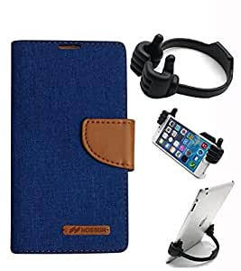 Aart Fancy Wallet Dairy Jeans Flip Case Cover for Nokia620 (Blue) + Flexible Portable Mount Cradle Thumb OK Designed Stand Holder By Aart Store.
