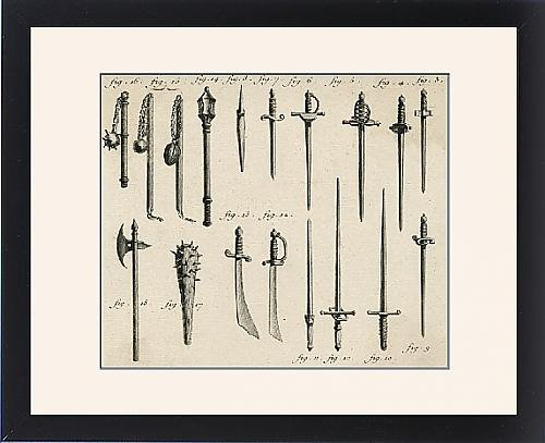 Framed Print Of Swords, Daggers, Maces From Mary Evans
