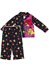 "Angry Birds ""Superstar"" Black Flannel Coat Pajamas 4-10"