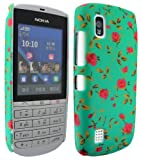 MobileExplosion Printed Design Hard Shell Back Protection Case Cover Cover Clip On Protection For - Nokia Asha 300 (Green Rose Flower)