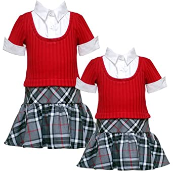 Size-3T RRE-52501F RED BLACK GRAY PLAID MOCK-LAYERED DROP WAIST 'School Girl' Dress,F752501 Rare Editions GIRLS