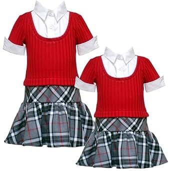 Size-6X RRE-52501F RED BLACK GRAY PLAID MOCK-LAYERED DROP WAIST 'School Girl' Dress,F752501 Rare Editions GIRLS