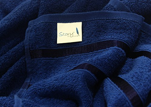 Story@Home Sensational Solid 10 Piece 450 GSM Cotton Face Towel Set - Navy Blue