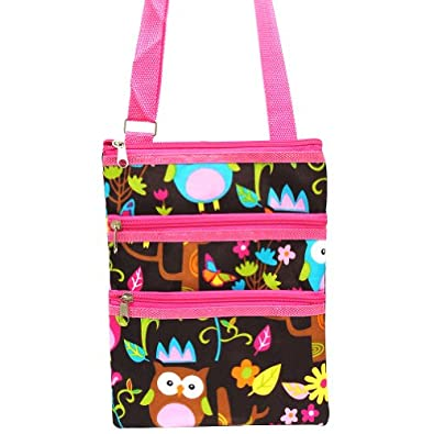 Colorful Owl Small Hipster Cross Body Shoulder Bag Purse Handbag with Pink Trim