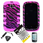 4 items Combo: ITUFFY(TM) LCD Screen Protector Film + Mini Stylus Pen + Case Opener + Black Pink Purple Zebra Design Rubberized Hard Plastic + Black Soft Rubber TPU Skin Dual Layer Tough Hybrid Case for Huawei Ascend Y M866/ H866 / H866C (Straight Talk / U.S.Cellular)