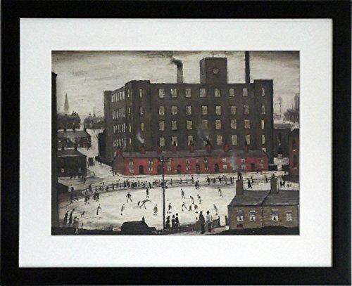 L S Lowry specialità Stampa/Picture-Cricket Match-su una struttura in lino, misura media, Black Frame With Soft White mount And Large Image, 20 x 16inch