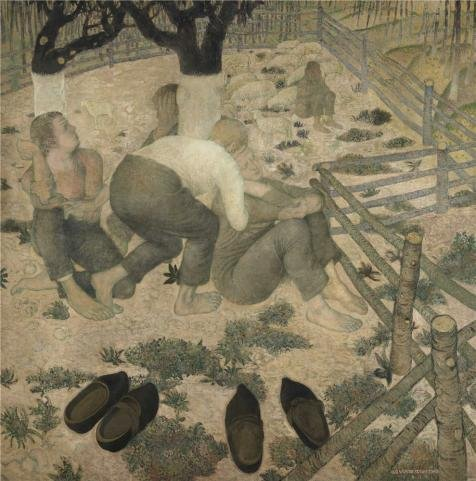 Oil painting 'Gustave van de Woestyne - The Sleepers,1918' printing on Perfect effect Canvas , 30x30 inch / 76x77 cm ,the best Bathroom decoration and Home gallery art and Gifts is this High Definition Art Decorative Prints on Canvas