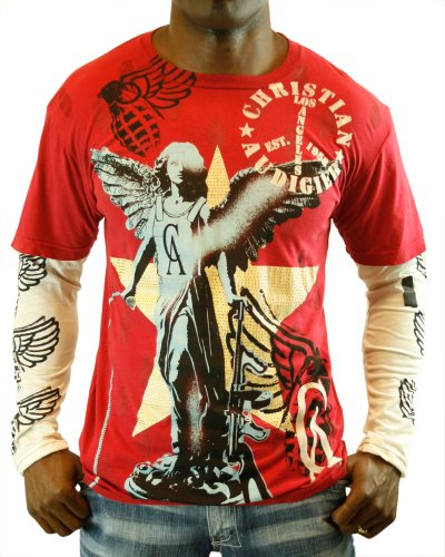 Christian Audigier 8 Double Sleeve Platinum Men's Shirt