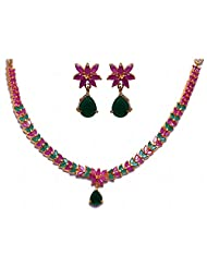 Alluring Emerald & Ruby Stone Studded Necklace Set In Silver Alloyed Metal