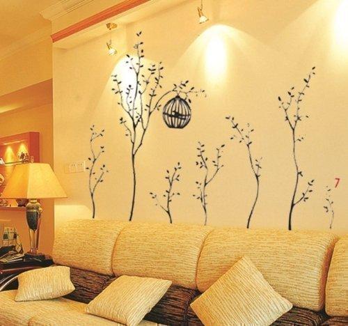 Walplus - Vinilo adhesivo decorativo para la pared, dise�o de �rboles con jaulas de p�jaros