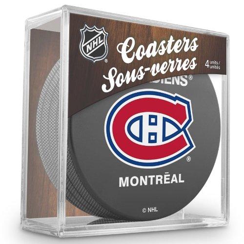 Reebok-Sher-Wood-Motif-NHL-Canadiens-de-Montral-Eishockey-Puck-Dessous-de-verre-Lot-de-4