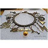 Steampunk Harry Potter Charm Bracelet,antique Brass Golden Snitch,lighting,dragon Lord Voldemort Deathly Horcrux Charms Bracelet
