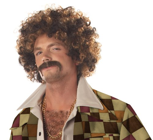 California Costumes Men's Disco Dirt Bag Wig & Moustache