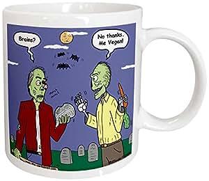 3dRose Halloween Zombie Vegans Ceramic Mug, 15 oz, White