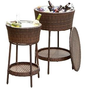Amazon Com 2 Piece Outdoor Wicker Wine Cooler Buckets